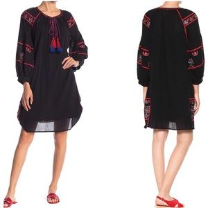 Velvet Loane Black Cotton Embroidered Dress
